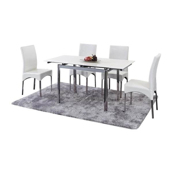 Jolien Extendable Marble Top Dining Table + 4 Dining Chairs (FREE DELIVERY)(FREE ASSEMBLY)