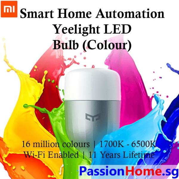 Original Yeelight Smart LED E27 Light Bulb (Colour) 9W Wifi 600 Lumens- 16 million colours - (Works with Google Home / Assistant, Amazon Alexa / Echo, IFTTT) - Intelligent Mi Home / Yeelight App - Xiaomi Mijia Home Automation - Passion Home