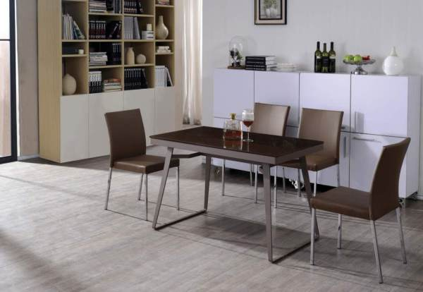 DINING SET 120cm U-shaped Leg Dining Table with 04 chairs