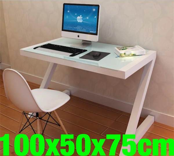 UMD Tempered Glass table study stable study desk computer desk (100x50x75CM) (Free Installation)