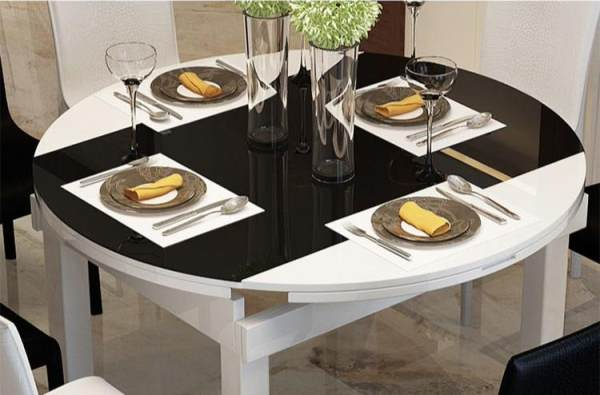 JIJI (Free Installation) Rosalyn Extendable Dining Table (TABLE ONLY) - Black (Dining Table) - Tempered Glass Top/ Solid Wood Frame / Kitchen dining table / (Free 12 Months Local Seller Warranty) (SG)