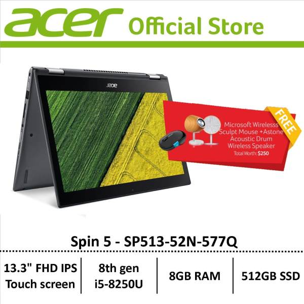 Acer Spin 5 SP513-52N-577Q Convertible Laptop - Free astone speaker and microsoft wireless mouse
