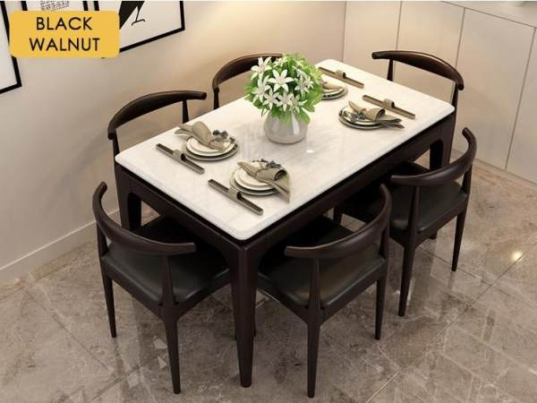 JIJI Modern Marble Ash Wood Dining Table (Dining Table) / FREE Installation with 12-Months Warranty / Marble Table Top / Original Wood Solid Frame