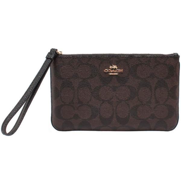 03b09ffeb065 ... inexpensive coach large wristlet in signature gold brown black f58695  gift receipt bec29 b3bdc