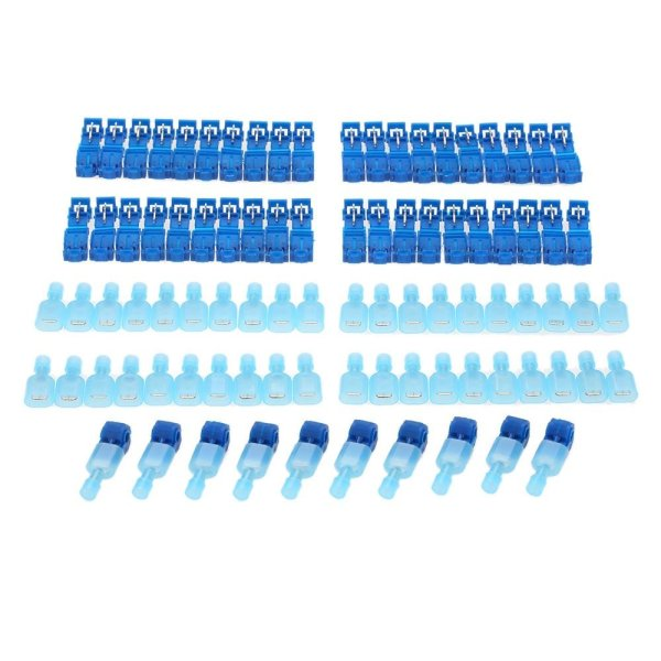 100Pcs Blue T-Tap Insulated Electrical Cable Connectors Quick Splice ...