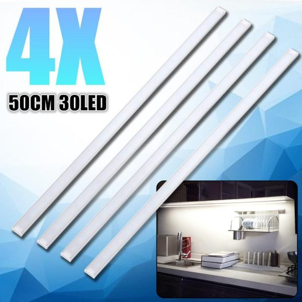 4x 50CM Kitchen Under Cabinet Counter Lighting LED Showcase Strip Light Fixture Warm White - intl