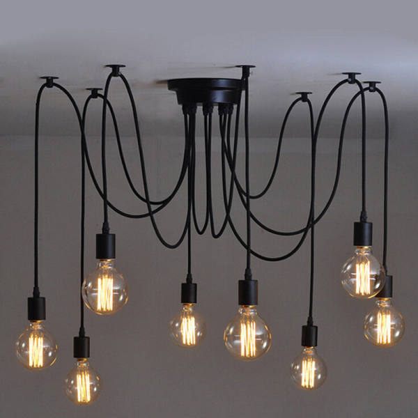 8 Heads Fuloon Vintage Edison Style Industrial Retro Diy Lights Chandelier Ceiling Lamps Singapore