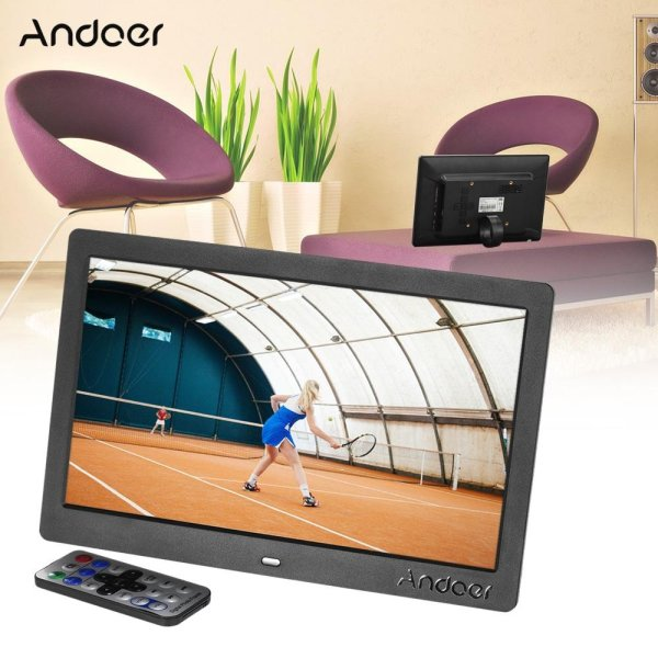Andoer 10 HD Wide Screen LCD Digital Photo Picture Frame High Resolution 1024*600 Clock MP3 MP4 Video Player with Remote Control Gift Present - intl