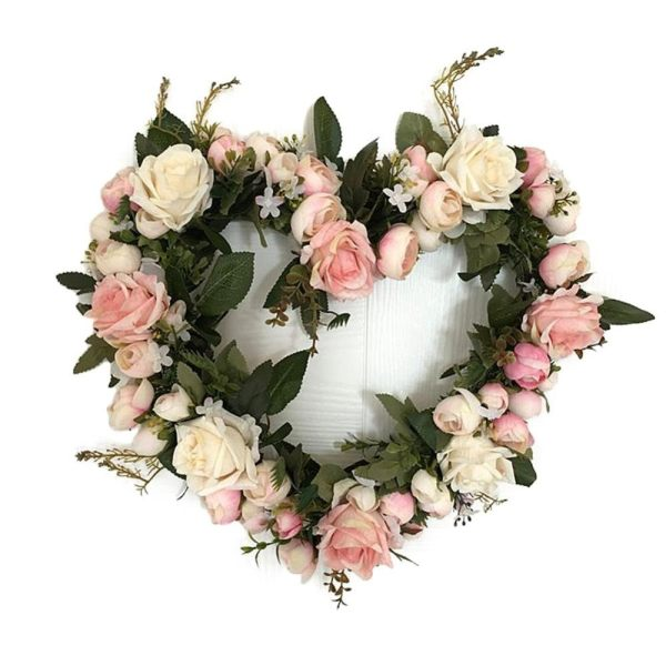 Classic Artificial Simulation Flowers Garland For Home Room Garden Lintel Decoration,Roses Peonies Color:Pink Roses