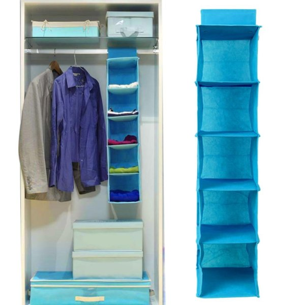 Eachgo Home Hanging Style Non-woven Fabric Underwear Storage Box 5 Layers Clothes Bin Organizer - intl