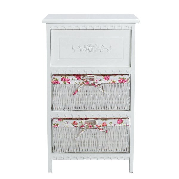 Shabby Chic White Wooden Bedside Table Shelf Drawer With Wicker Storage Basket - intl