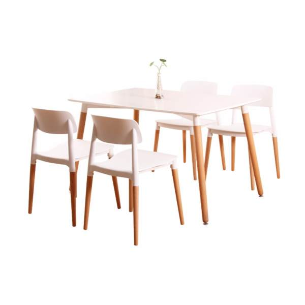 UMD Designer Dining Table with 4 Chairs (Free Installation, White, 1.4m)