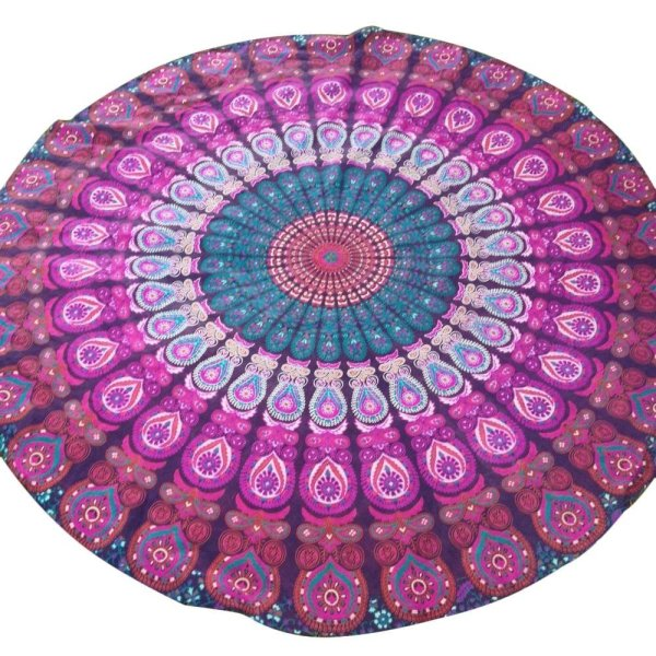 YJJZB Peacock Yoga Mat Indian Mandala Roundies Tapestry Tablecloth Vibrant Beach Towel Beach Throw Picnic Mat Table Throw Table Cover - intl