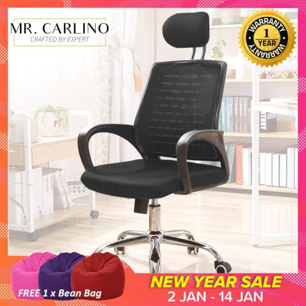 [883] KIEFER Curved Backrest with Headrest Mesh Office Chair With Tilt Function