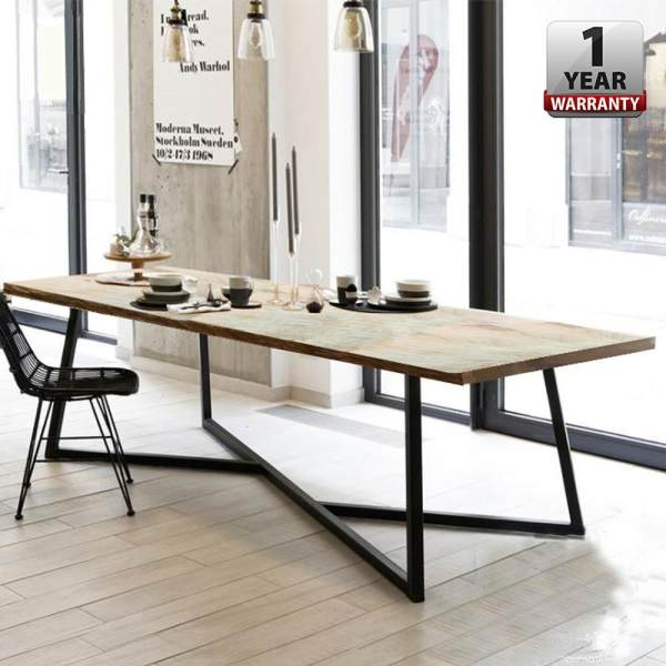 DIONNE [200 x 90 cm] 5 Cm Thick Wood MODERN DINING / MEETING /STUDY TABLE With Black Steel