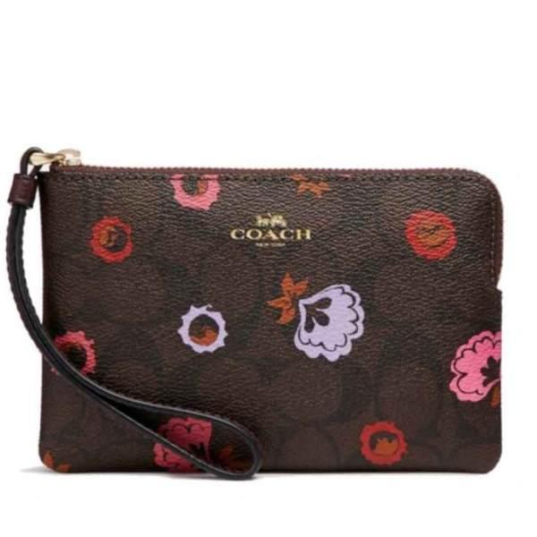 3e131f914174 ... good coach f24380 corner zip wristlet with prim rose floral signature  print 0485b c5b1b