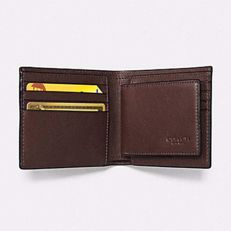 70d24717efc5 Coach Men s Compact ID Wallet In Sport Calf Leather (F74991) Mahogany