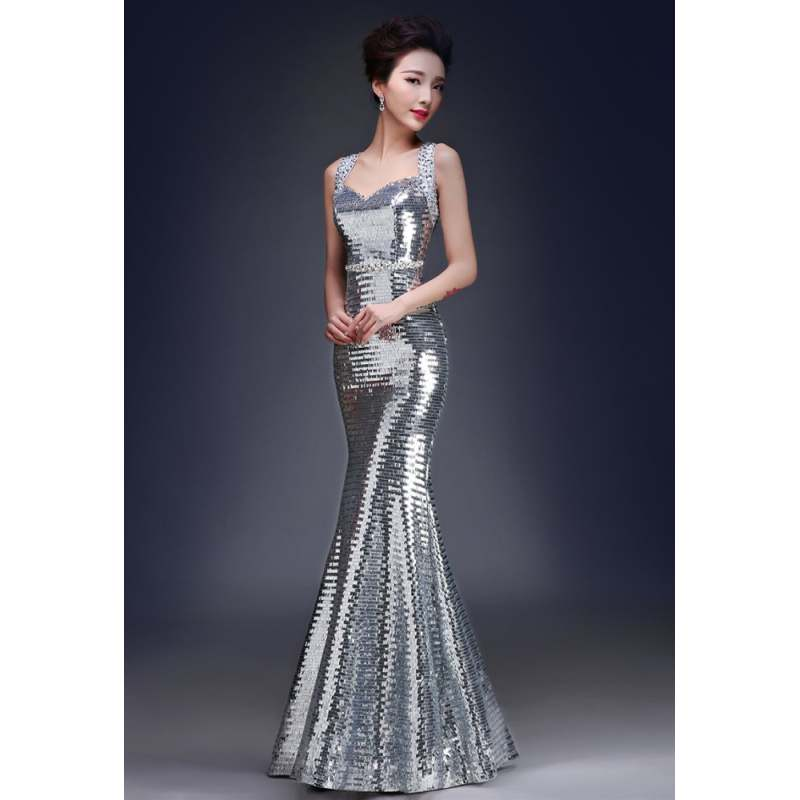 Glitter Evening Dress Elegant Long Gown Sexy Mermaid Maxi Dresses