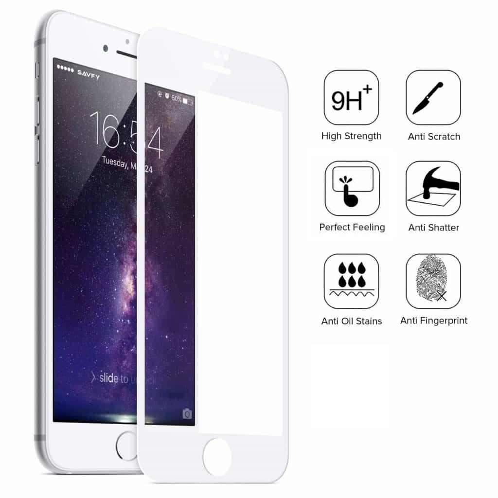 iPhone 8+ Plus Full Coverage Tempered Glass Screen Protector (White)
