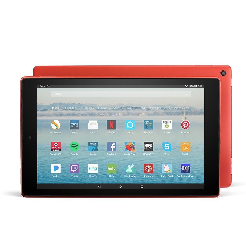 Amazon Fire HD 10 Tablet (Red) with Alexa Hands-Free, 10.1″ 1080p Full HD Display, 32 GB – with Special Offers