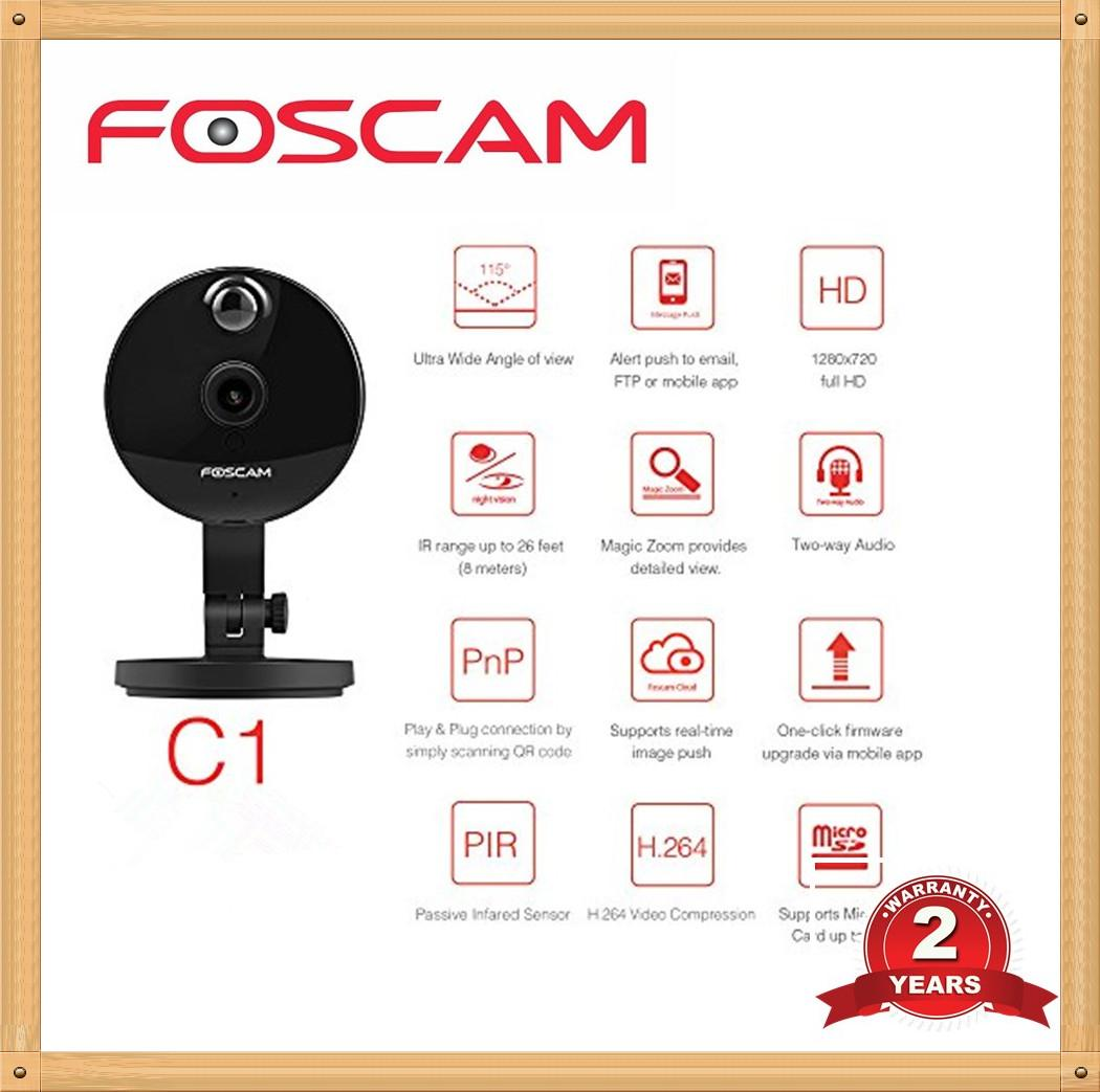 Foscam C1 Plug and Play 720P HD H.264 Cloud-Enabled IP Camera with Bonus Install Card