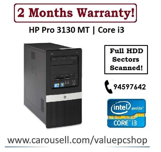 Core i3: HP Pro 3130 MT/ 4GB RAM/ 250GB HDD (Refurbished Desktop CPU)