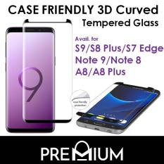 Case Friendly 3D Curved Tempered Glass Screen Protector For Huawei Mate 20 Pro / Samsung Galaxy Note 9 / S9 G960 / S9 Plus G965 / S8 / S8 Plus / Note 8 / A8 Plus / A8 2018 – Black