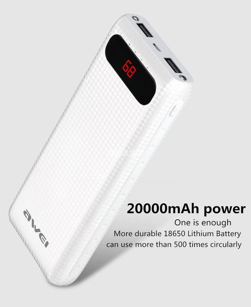 Awei P70K 20000mAh Power Bank Battery 2 USB Port LCD Display LED Light Charge