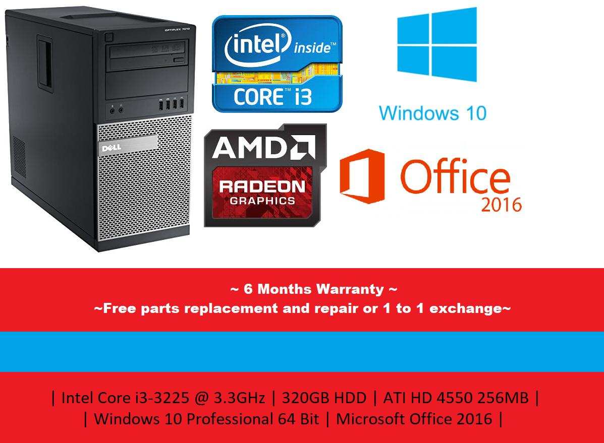 [Refurbished] Dell Optiplex 7010 Mini Tower | Intel Core i3-3225@3.30GHz | 4GB DDR3 RAM 320GB HDD | ATI HD4550 256MB...