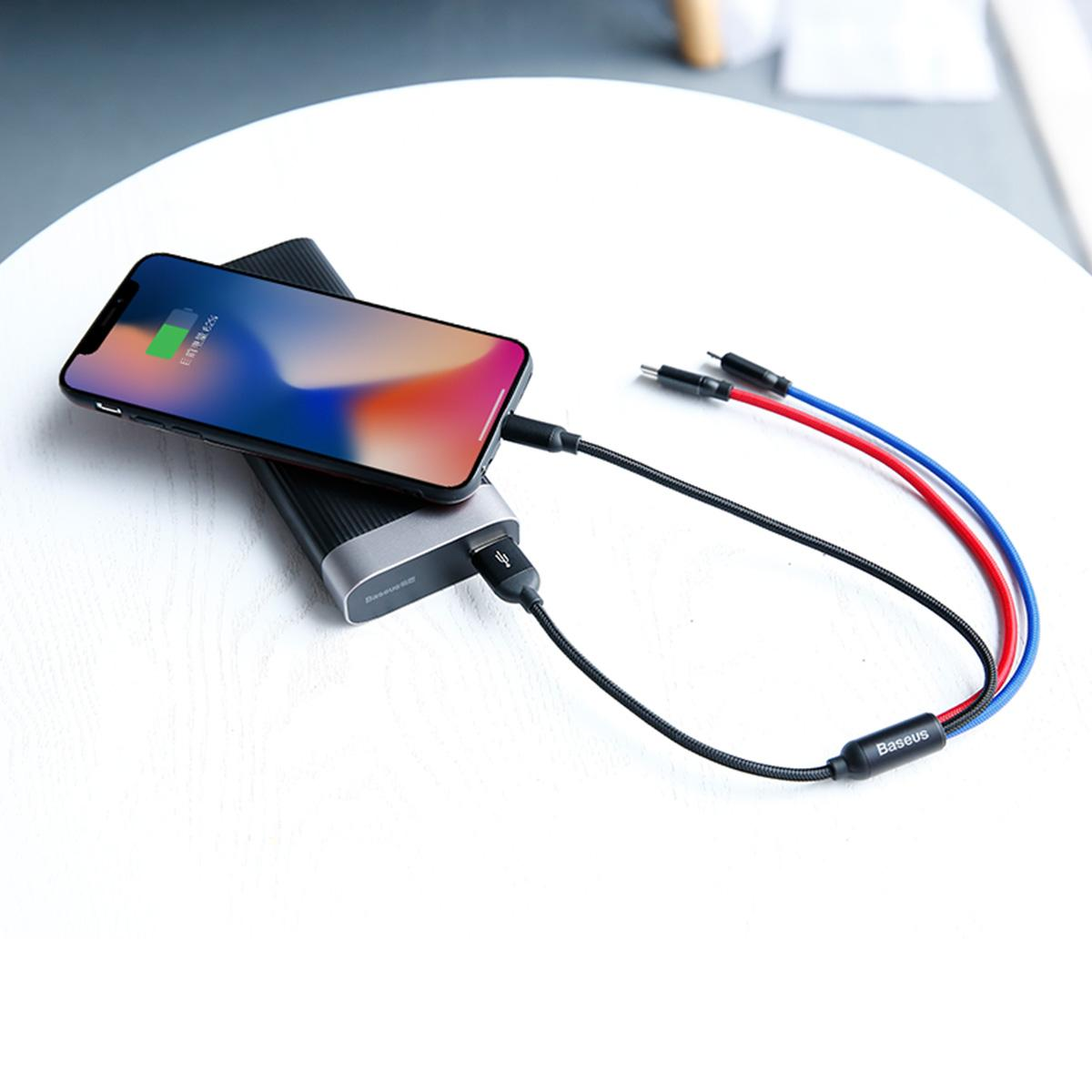 Baseus Three Primary Color 3in1 3.5A Fast Charging Cable Samsung Galaxy S9 S8 iPhone Xiaomi 1.2m