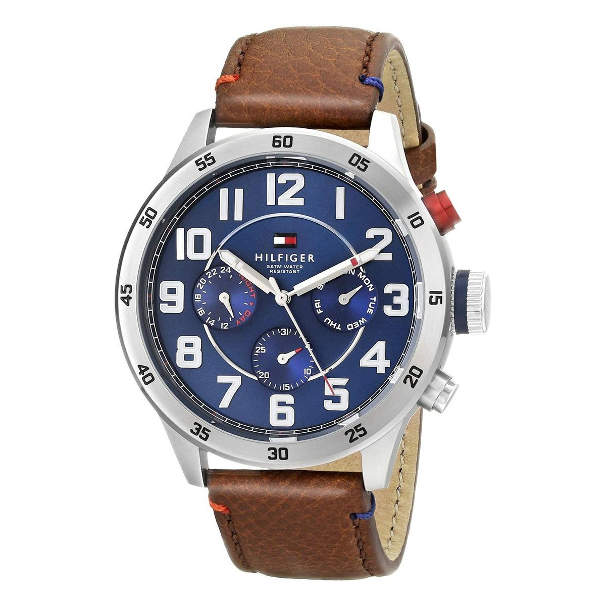 Tommy Hilfiger TRENT Brown Stainless-Steel Case Leather Strap Mens 1791066