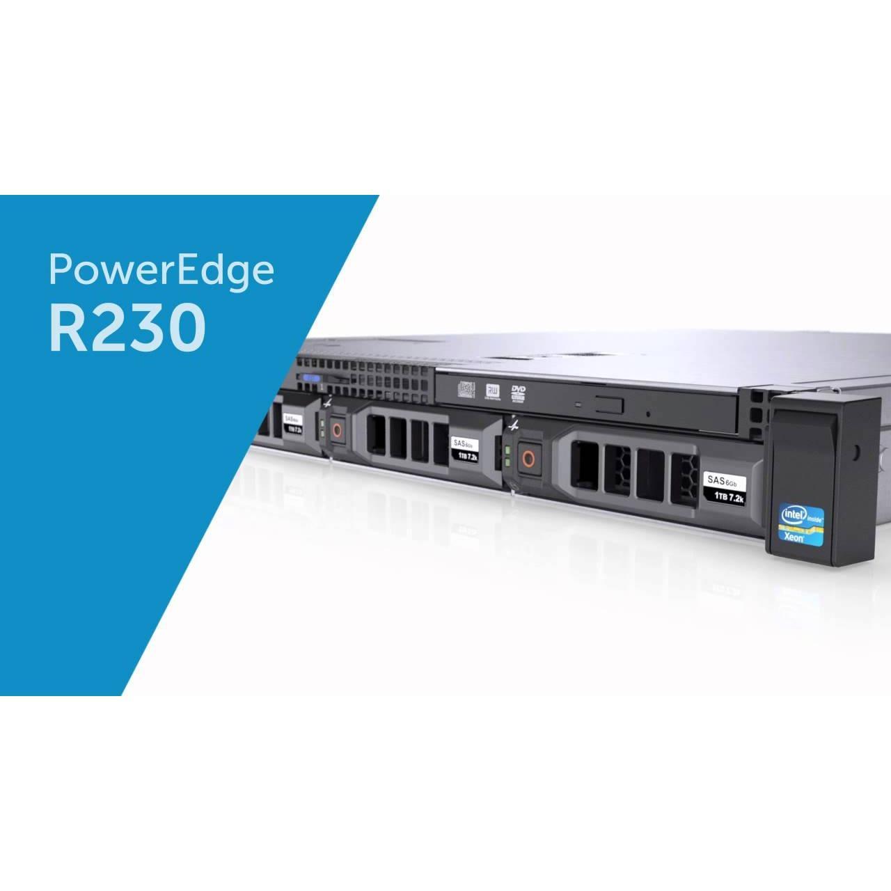 New PowerEdge R230 Rack ServerIntel Xeon E3-1220 v5 3.0GHz, 8M cache, 4C/4T, turbo (80W) RAM 8GB UDIMM, 2400MT/s 1TB HDD WINDOWS 10 PROFESSIONAL