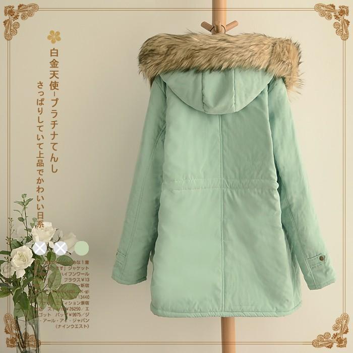 Tiếng Nhật Mori Mùa Thu Đông Sinh Viên Áo Bông Áo Khoác Quần Áo Nữ Nhung Dày Áo Bông Dài Quần Áo Cotton Giản Dị