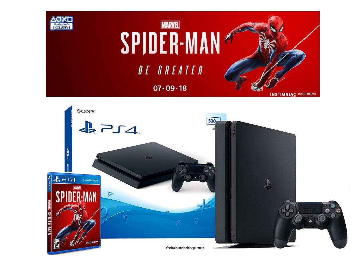 New Sony PS4 Slim Console 500GB (Black) + PS4 Spiderman (2018)
