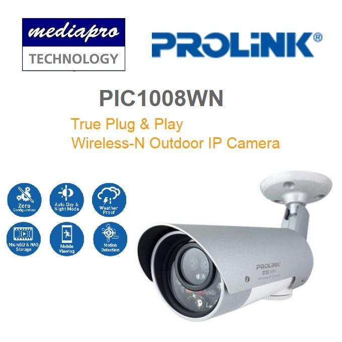 PROLINK PIC1008WN HD Wireless PoE Outdoor IP Camera - Built-in Micro-SD slot