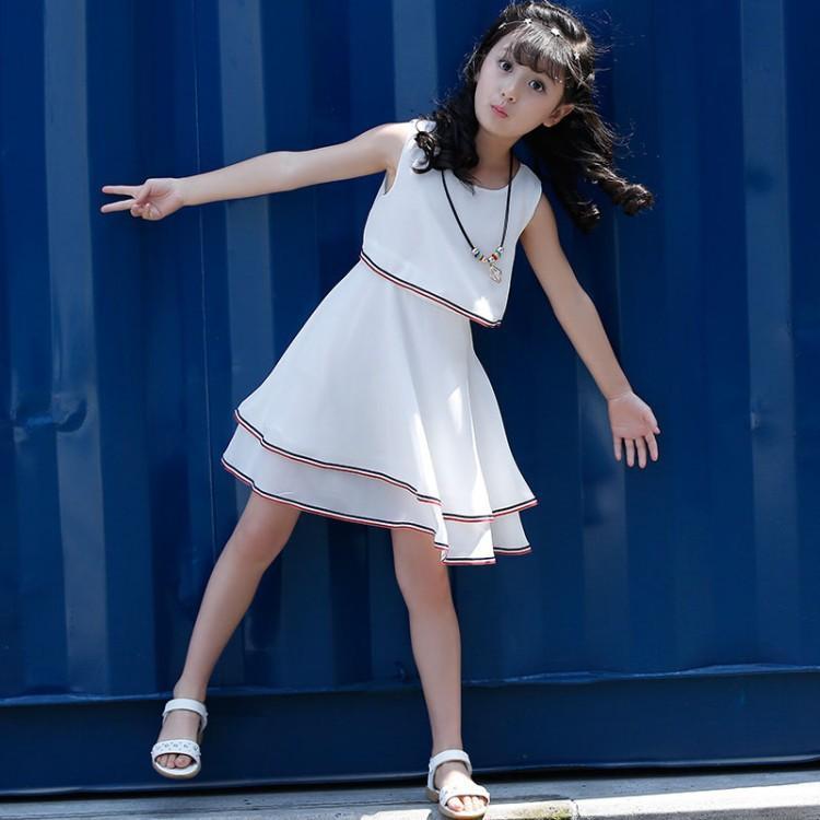 Cô Gái 2019 Mẫu Mới Váy Liền Mùa Hè Vừa Và Nhỏ Trẻ Em Công Chúa Váy Quần Áo Trẻ Em Kiểu Hàn Quốc Mùa Hè Váy Chiffon Thẳng