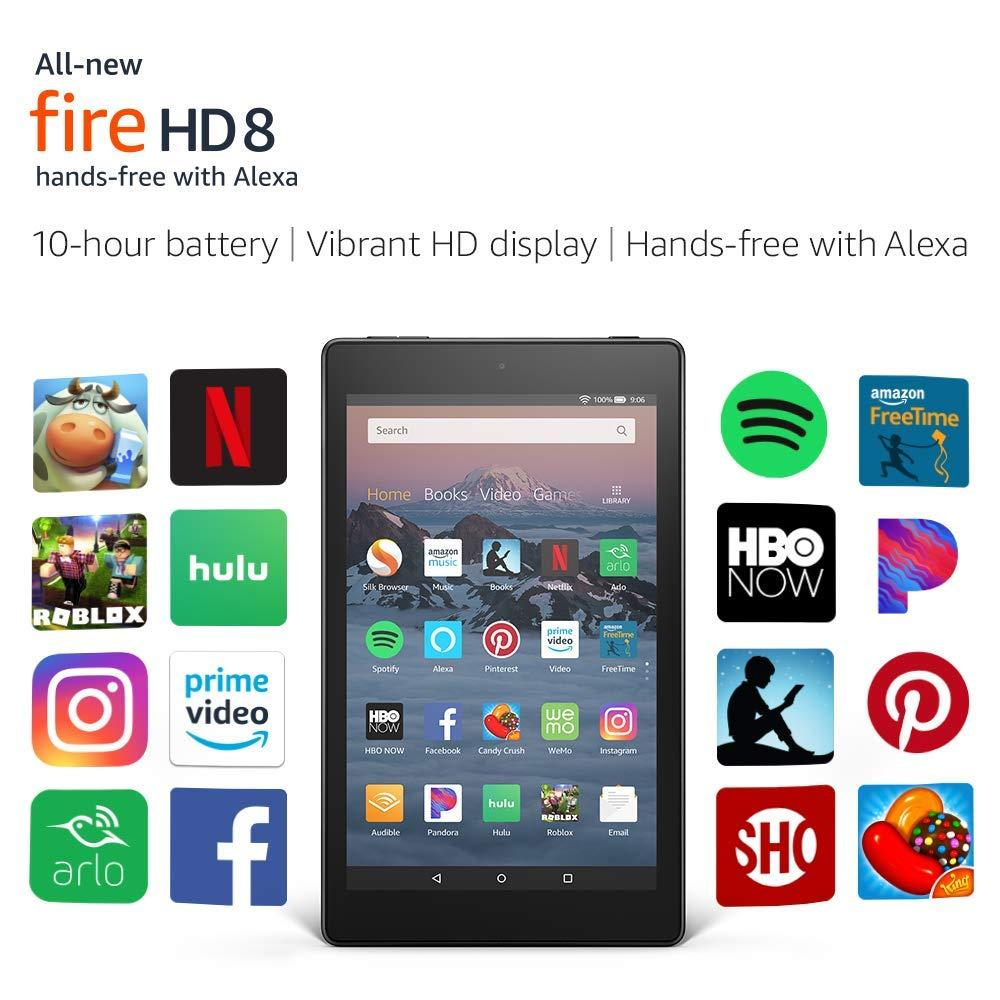 All-New (8th Gen) 2018 Amazon Fire HD 8 Tablet with Alexa 8″ HD Display 16 GB – with Special Offers
