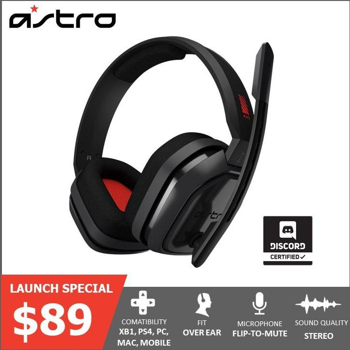 ASTRO Gaming A10 Gaming Headset Gen 1 - Grey/Red - PC
