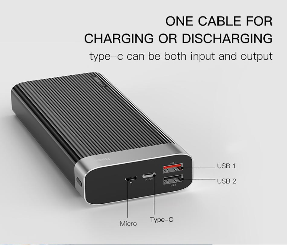 Baseus Parallel Type-C PD +QC3.0 power bank 20000mAh 18W