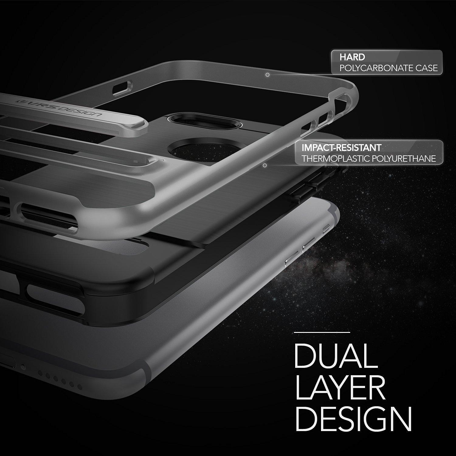 VRS Design High Pro SHIELD Slim Kickstand Case iPhone 7 iPhone 8 Steel Silver