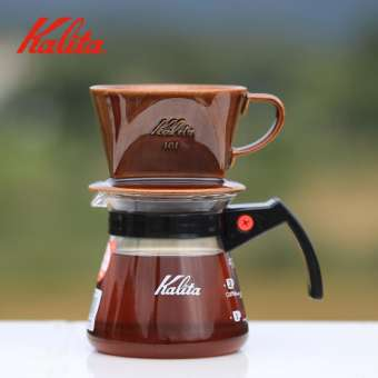 นำเข้าจากญี่ปุ่นคาริตา Kalita เคลือบดินเผาถ้วยกรองรูปทรงสี่เหลี่ยมคางหมูรูปพัดสามรูผลิตภัณฑ์เดี่ยวชงด้วยมือแก้วกรองกาแฟ
