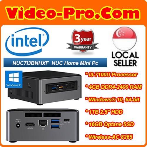 Intel NUC7I3BNHXF NUC Mini PC i3-7100U, 4GB DDR4-2400, 16 GB Intel Optane memory, 1 TB HDD, Windows 10 Home 64-Bit, 3 Years Warranty