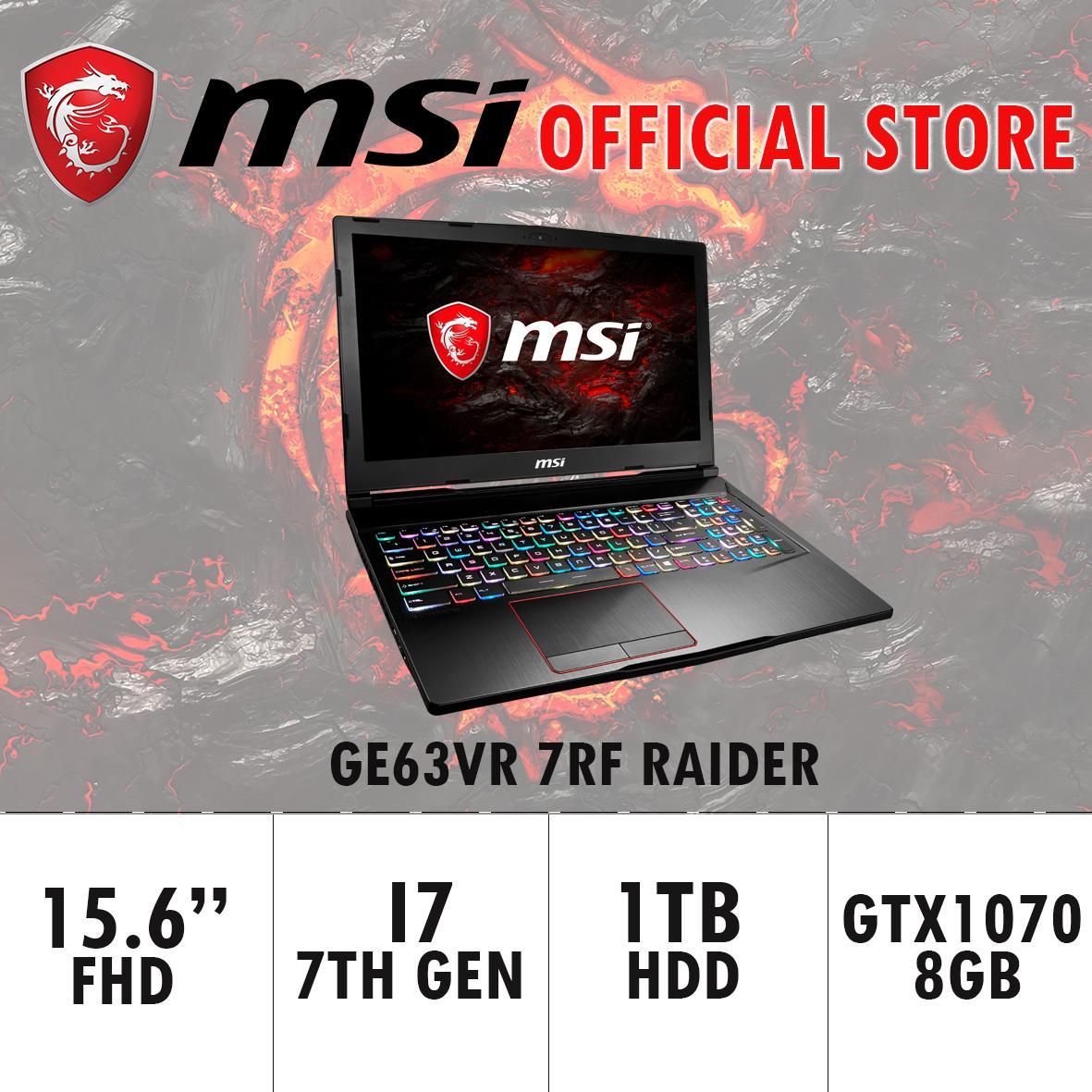MSI GE63VR 7RF RAIDER – 262SG (I7-7700HQ/16GB DDR4/256GB SSD+1TB HDD 7200RPM/8GB NVIDIA GTX1070) GAMING LAPTOP