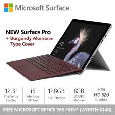 [SALE] Surface Pro (2017) i5 / 8gb / 128gb + Burgundy Alcantara Type Cover + Office 365 Home Bundle