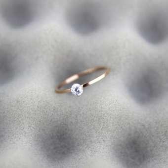 ฝังเจาะจำลองแหวนหญิงเหล็กไทเทเนียมชุบ 18 K โรสโกลด์นิ้วชี้แหวนเรียบง่ายเพชรเดี่ยวปรับสวยหรูญี่ปุ่นและเกาหลีใต้ฮิปสเตอร์