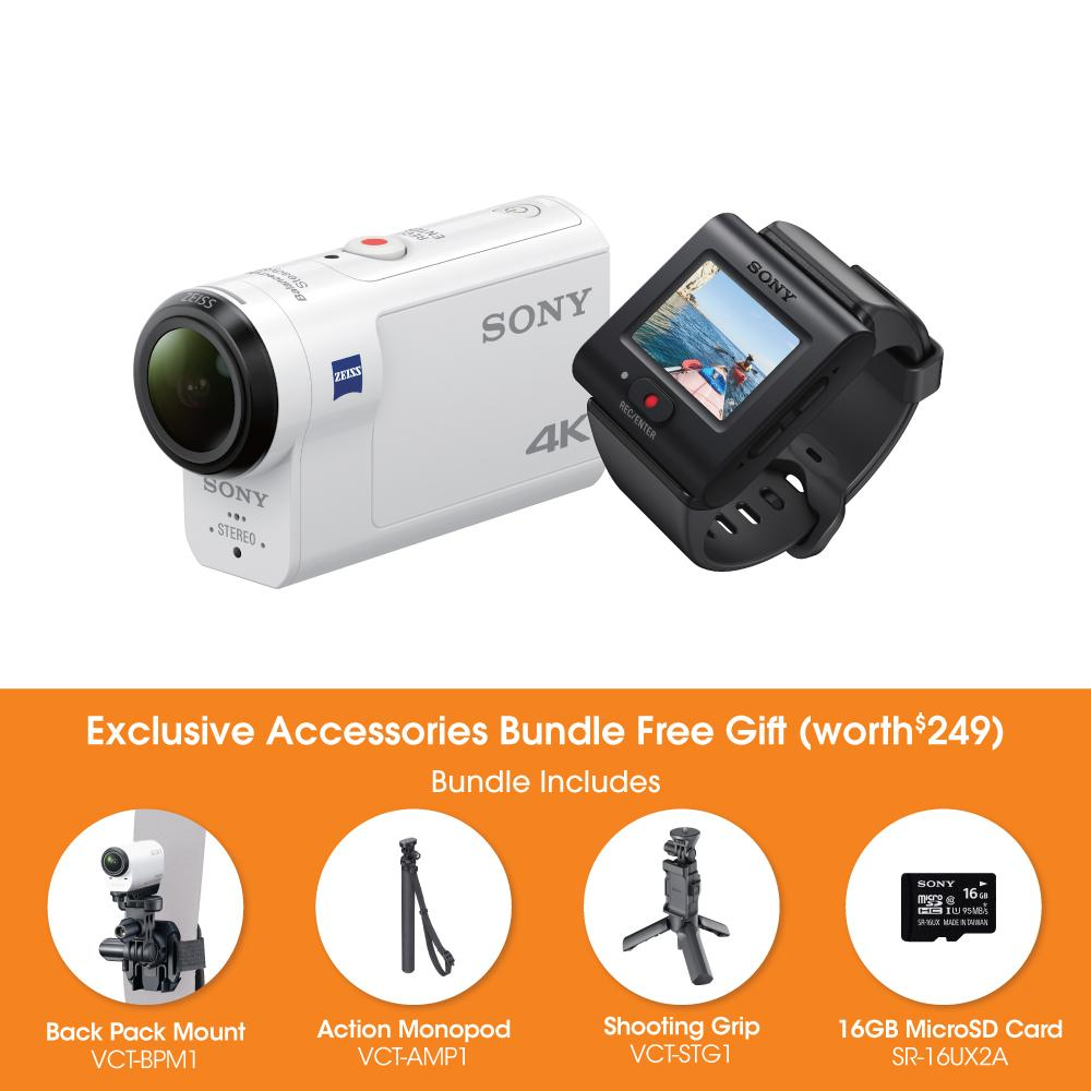 Sony Singapore FDR-X3000R 4K Action Cam with Live View Remote and Optical Stabilisation (White) + Exclusive Accessories Bundle Free Gift