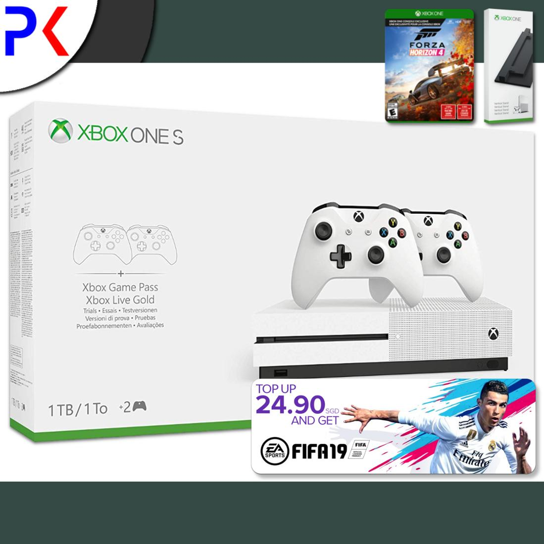 Xbox One S 1TB (ASIA) Two Controller Bundle + 1 Game + Free Vertical Stand