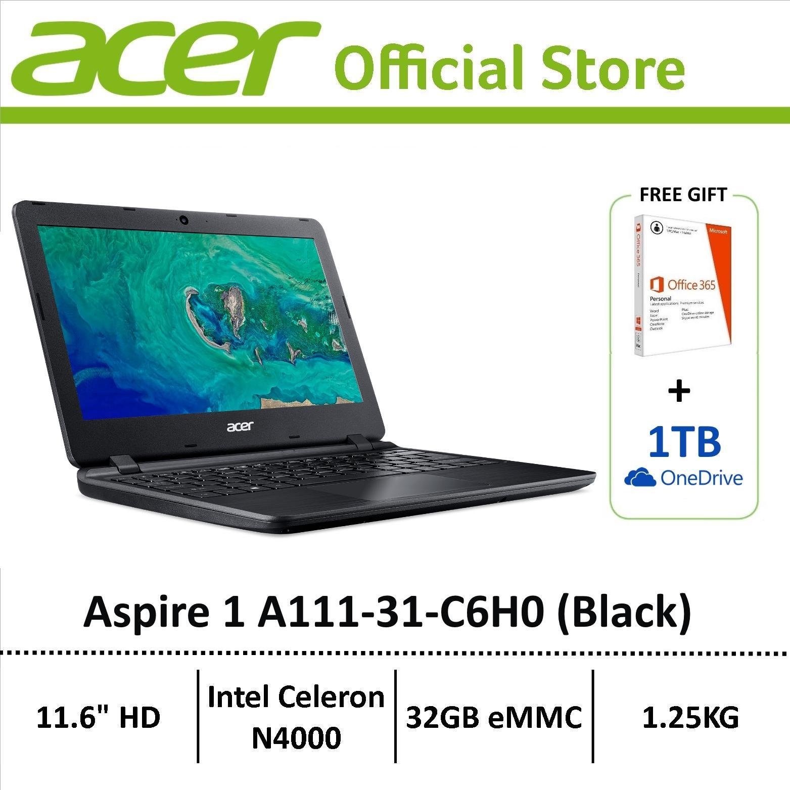 Acer Aspire 1 A111-31-C6H0 (Black) 11.6-inch HD Lightweight Laptop