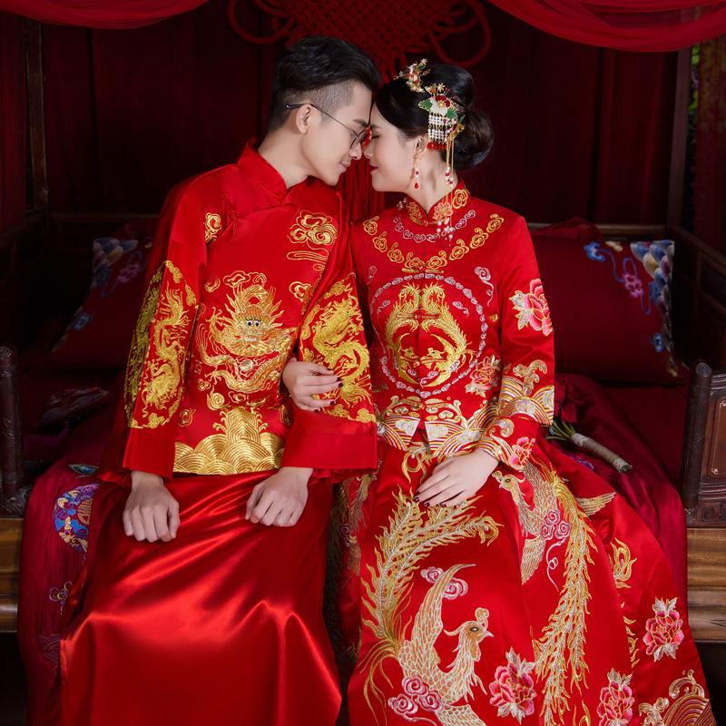13c74d7f7 For Clothing 2019 New Style Bride Chinese Traditional Wedding Dress Groom  Chinese Style Marriage Formal Dress Costume Dragon And Phoenix Gown XiuHe  Suit ...