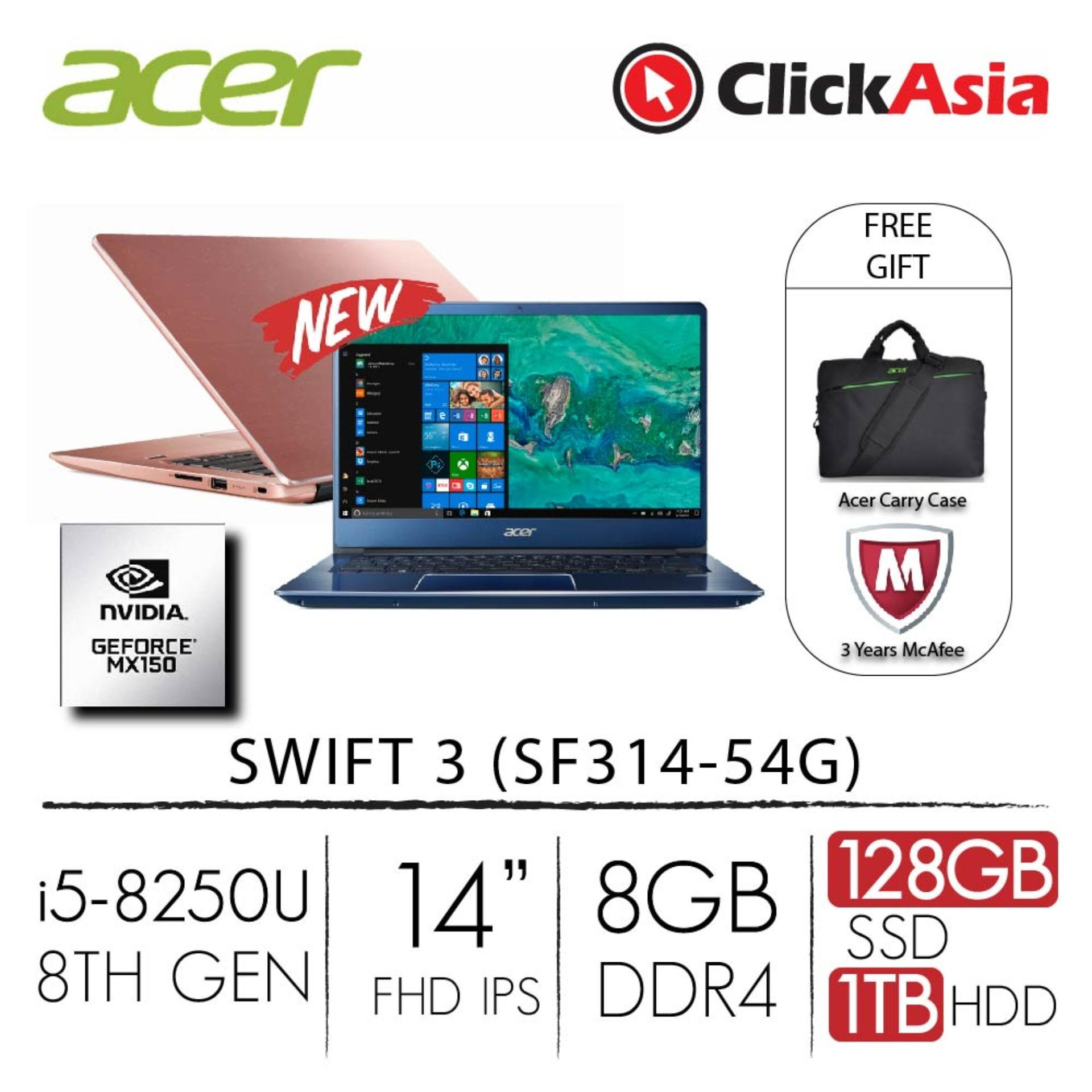 Acer Swift 3 (SF314-54G-5281) – 14″ FHD/i5-8250U/2*4GB DDR4/128GB SSD+1TB HDD/Nvidia MX150/W10 (Blue)